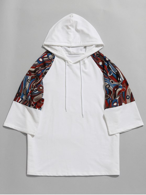 ladies Raglan Sleeve Abstract Print Hoodie - WHITE M