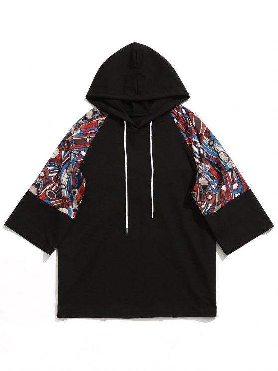 outfits Raglan Sleeve Abstract Print Hoodie - BLACK XL