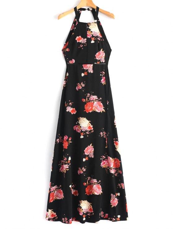 فستان طويل زهرة فتح ظهر العيينة - أسود M
