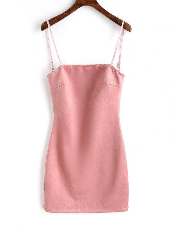 women Faux Suede Lace Up Mini Dresss - PINK L