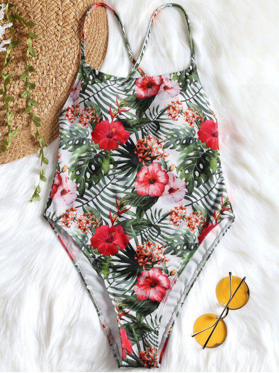 Costume Da Bagno Intero Tropicale Con Taglio Alto - Floreale M