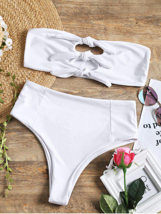 fancy Bandeau Knotted High Waisted Bikini Set - WHITE L