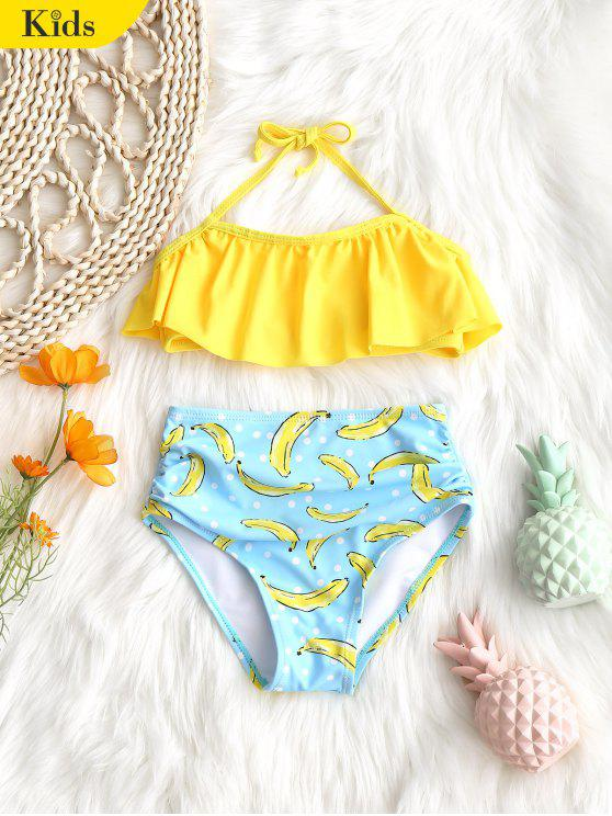 Kid Flounce Top com Banana Swim Bottoms - Amarelo 4T