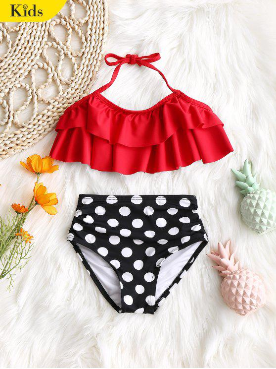 lady Kid Tiered Top with Polka Dot Swim Bottoms - RED 4T