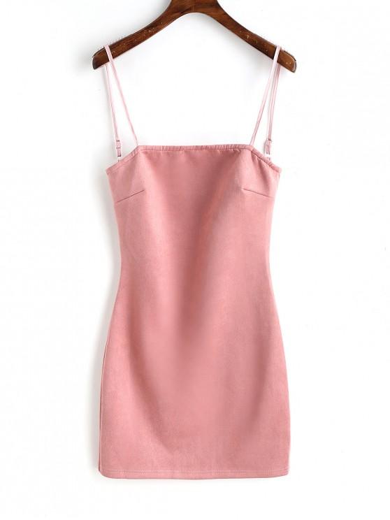 ladies Faux Suede Lace Up Mini Dresss - PINK M