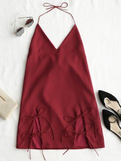 Cut Out Tie Cami Trapeze Dress - Rouge Foncé M