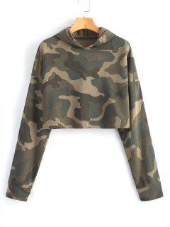 Loose Cropped Camouflage Hoodie - Army Green S