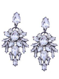 Geometric Hollow Out Faux Crystal Embellishment Drop Earrings - White