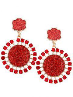 Geometrische Runde Strass Verzierte Paillette Ohrringe Mit Anhänger - Rot