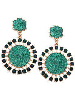 Geometric Round Rhinestone Decorate Paillette Drop Earrings - Green