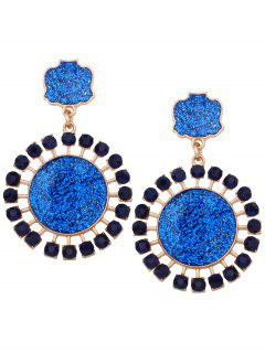 Geometric Sun Pattern Rhinestone Decorate Drop Earrings - Blue