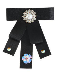 Broche Del Collar Del Bowknot De La Perla De Imitación Del Rhinestone - Negro