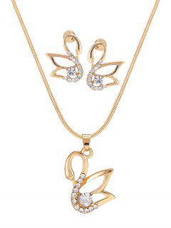 Diamante Hollow Out Swan Pendant Necklace And Earrings Set - Golden
