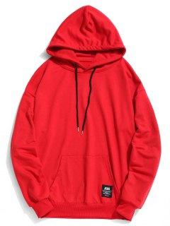 Label Tasche Hoodie - Rot L