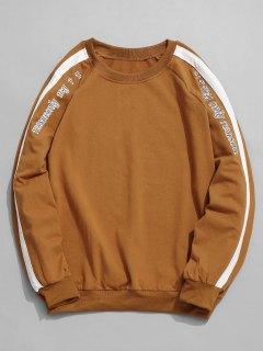 Striped Raglan Sleeve Sweatshirt - Brown Xl