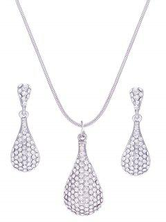 Water Drop Rhinestone Inlay Pendant Necklace Earrings Set - Silver