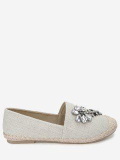 Faux Crystal Embellished Loafers - Apricot 39