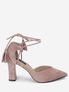 Pointed Toe Ankle Strap Sandals - Pink 34