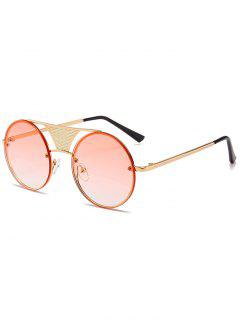 Hollow Out Metal Bar Round Sunglasses - Gradual Pink