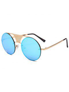 Hollow Out Metal Bar Round Sunglasses - Ice Blue