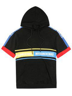 Graphic Pouch Pocket Short Sleeve Hoodie - Black 2xl