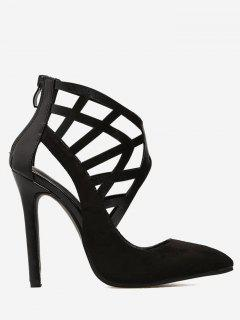 Hollow Out Stiletto Faux Suede Heels - Black 36