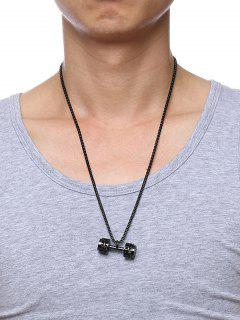Gear Barbell Pendant Necklace - Black