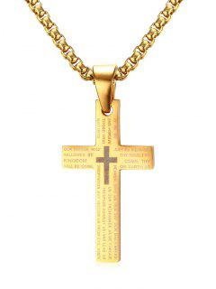 Crucifix Pray Pendentif Collier - Or