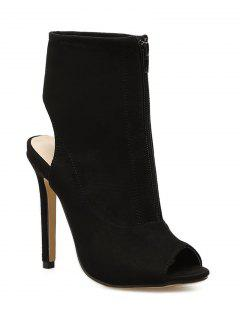 Stiletto Heel Cut Out Back Bootie Sandals - Black 36