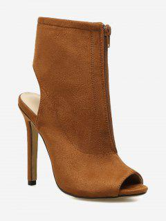 Stiletto Heel Cut Out Back Bootie Sandals - Brown 36