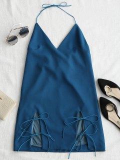 Cut Out Tied Cami Trapezkleid - Azurblau S