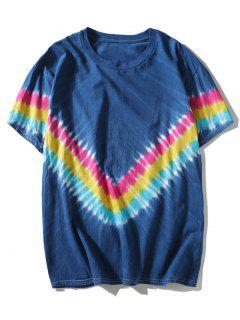 T-shirt à V Tie-Dye  - Bleu L
