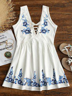 Floral Print Lace Up Sleeveless Flare Dress - White L