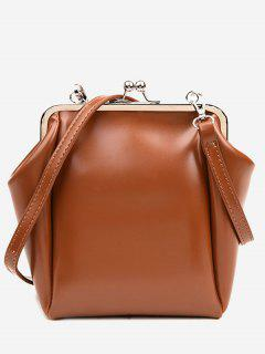 Casual PU Leather Frame Bag - Brown