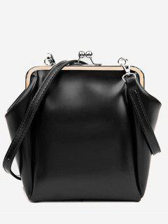 Casual PU Leather Frame Bag - Black