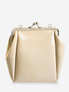 Casual PU Leather Frame Bag - Off-white