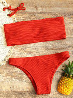 Ribbed Texture Bandeau Bikini Set - Red S
