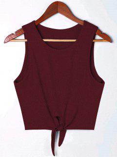 Camiseta De Tirantes Sin Mangas Anudada - Vino Rojo L