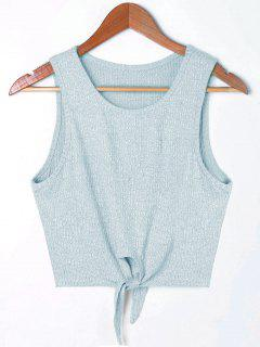 Cropped Tie Front Rip Tank Top - Light Blue Xl