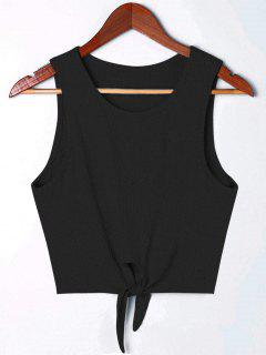 Cropped Tie Front Rip Tank Top - Black S