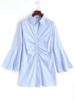 Chemise Longue Rayée à Manches Evasées Et Cordon De Froncage Devant  - Bleu Clair L