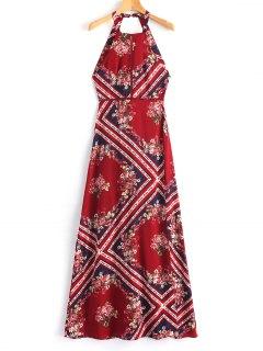 Vestido Maxi De La Abertura Del Ojal Sin Espalda - Rojo Oscuro S