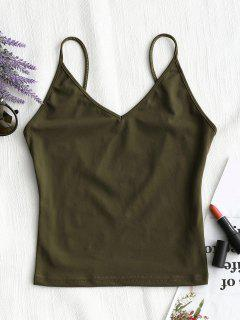 Open Back Plain Tank Top - Army Green M