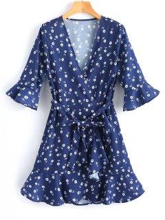 Belted Wrap Ruffles Mini Dress - Deep Blue M