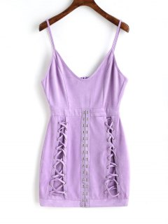 Faux Suede Lattice Mini Dress - Purple M
