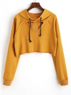 Raglan Sleeve Cut Out Cropped Hoodie - Mustard S
