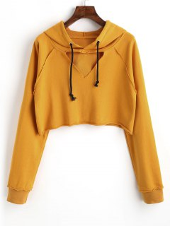 Raglan Sleeve Cut Out Cropped Hoodie - Mustard M
