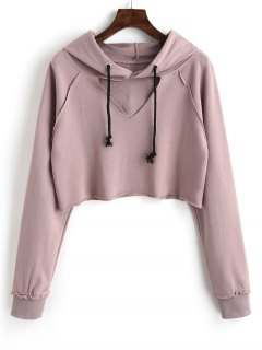 Raglan Sleeve Cut Out Cropped Hoodie - Bean Paste Color M