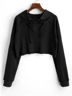 Raglan Sleeve Cut Out Cropped Hoodie - Black M