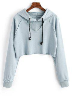 Raglan Sleeve Cut Out Cropped Hoodie - Light Blue M